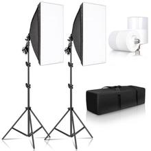 Studio Kit Photo Softbox Light Box Lighting Single Led Lamp with Tripod Photography Shooting Soft Box Flash E27 Accessories