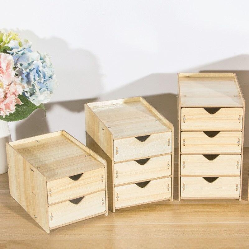 DIY Wooden Multi-layer Drawer Desk Set Wood Board Storage Box Desktop Finishing Tool Drawer Organizer Office Home Supplies