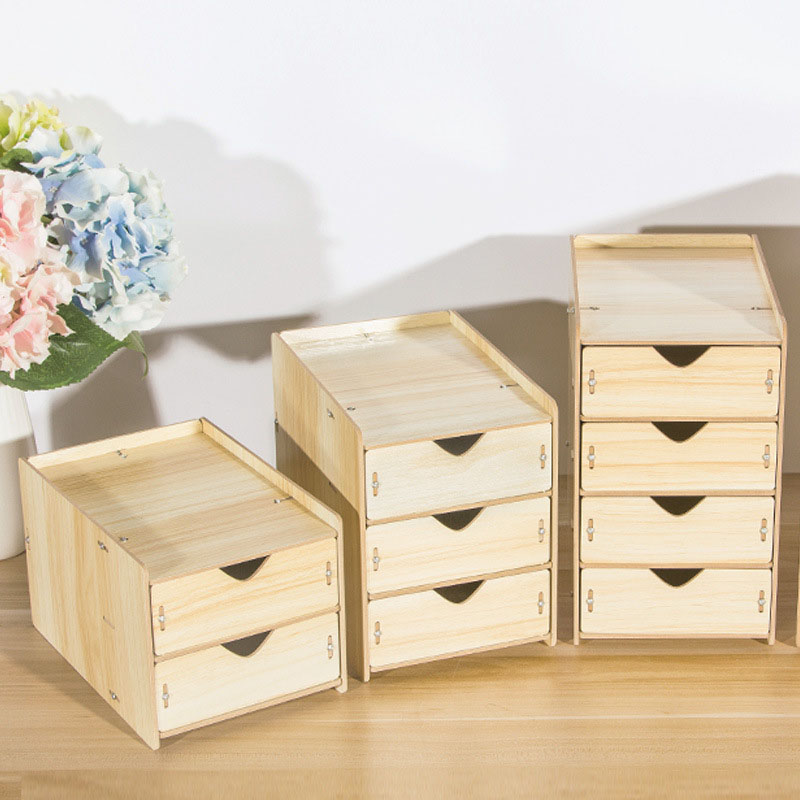 DIY Wooden Multi-layer Drawer Desk Set Wood Storage Box Desktop Finishing Tool