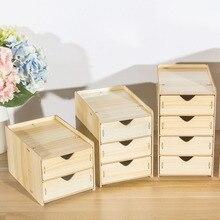 DIY Wooden Multi-layer Drawer Desk Set Wood Storage Box Desktop Finishing Tool