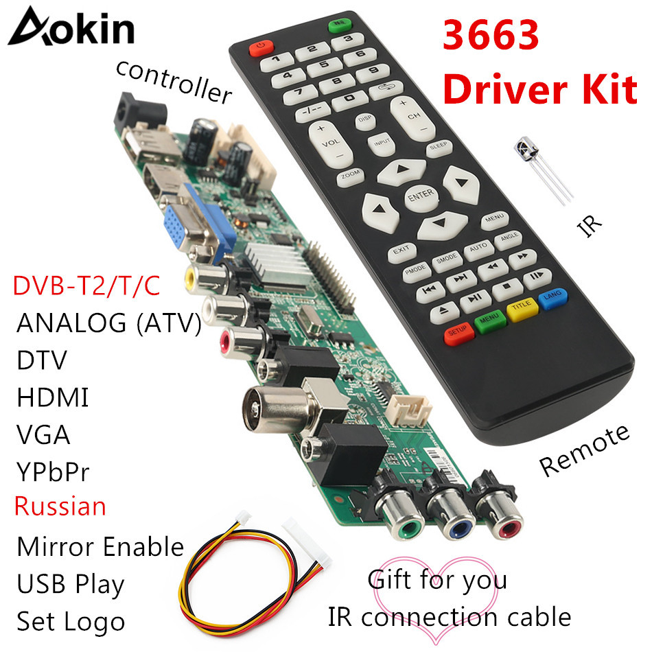 Aokin New Digital Signal 3663 DVB-C DVB-T2 DVB-T Universal LCD TV Controller Driver Board UPGRADE 3463A Russian USB Play LUA63A8