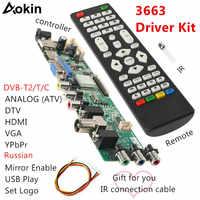 Aokin New Digital Signal 3663 DVB-C DVB-T2 DVB-T Universal LCD TV Controller Driver Board UPGRADE 3463A Russian USB Play LUA63A8