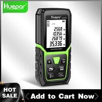 Huepar-telémetro láser LCD retroiluminado, medidor de distancia, 330Ft/100M, M/In/Ft, con batería de iones de litio y Sensor de ángulo eléctrico