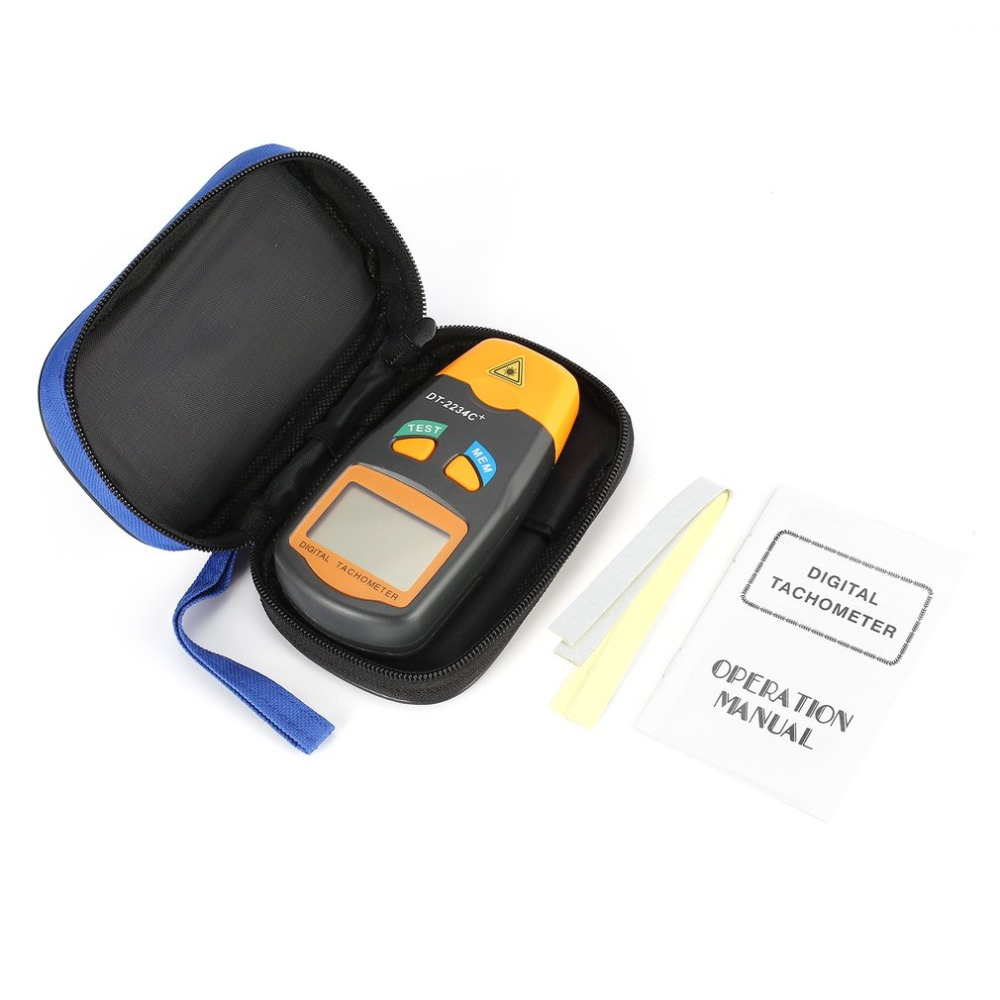 DT2234C+ Mini Handheld LCD Digital Non-contact Laser Photo Tachometer RPM Speed Measurement Meter Speedometer 2.5~99999RPM