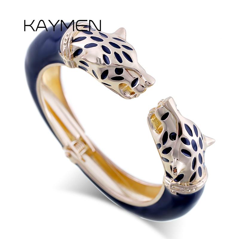 Kaymen New Statement Wolf Cuff Bangle, Girl's Enamel Fashion Cuff Bracelet, Gold plated Animal Chunky Bangle(China)