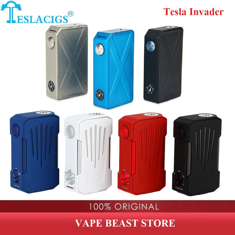 Original 240W Tesla Invader 3 Box Mod  VS Tesla Invader 4X VV Box MOD & Powered By Dual 18650 Cells No Battery E-cig Vape Mod