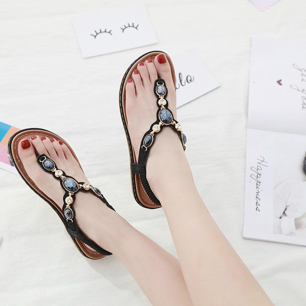 Vogue belles femmes Sexy dames bohême rétro Roma plat cristal bascule sandales chaussures décontractées
