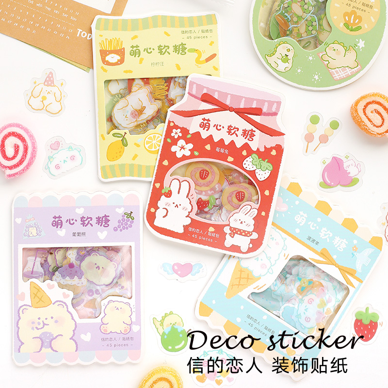 Card lover heart sweets pvc sticker Scrapbooking Decoration label 1 lot = 18 packs WholesaleStationery Stickers   -