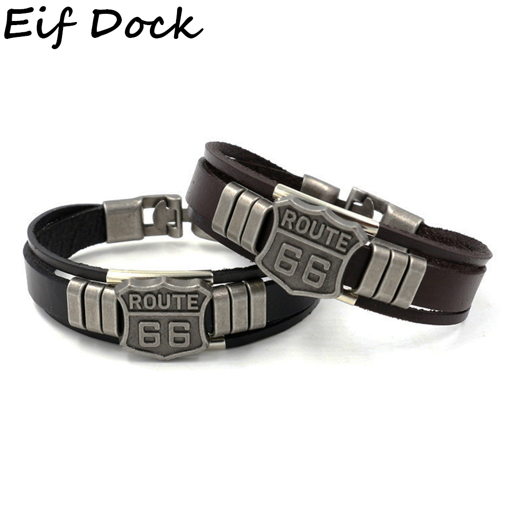 Eif Dock Trendy Leather Bracelet with California Route 66 Road Sign Motorcycle Biker Rider Black Bangles Males Jewelry Dropship(China)