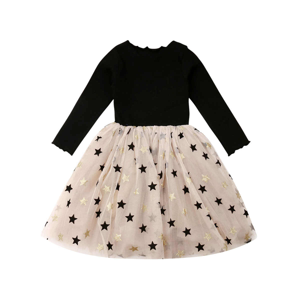 2019 Princess Autumn Infant Baby Girls Dress 2-7Y Star Print Lace Patchwork Knee Length Tutu Dress Party