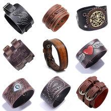 Новые черные коричневые винтажные браслеты из натуральной кожи