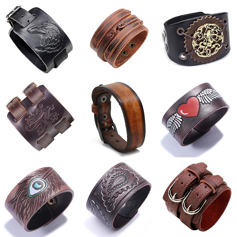 2019 New Black Brown Vintage Genuine Leather Bangles Wide Leather Bracelet For Women Men Bracelet Ethnic Punk Charm Jewelry