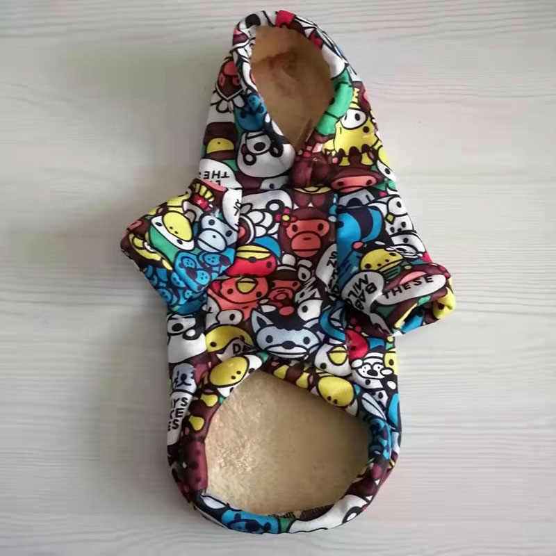 Abrigo con capucha para perros mascota ropa para cachorros con estampado de animales para perros pequeños de tamaño mediano Teddy Bulldog francés ropa para perros de invierno ropa para perro