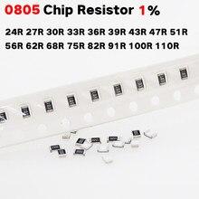 200 Chip resistor SMD 0805 1% 24R Pçs/lote 27R 30R 33R 36R 39R 43R 47R 51R 56R 62R 68R 75R 82R 91R 100R 110R Ohm 1/8W