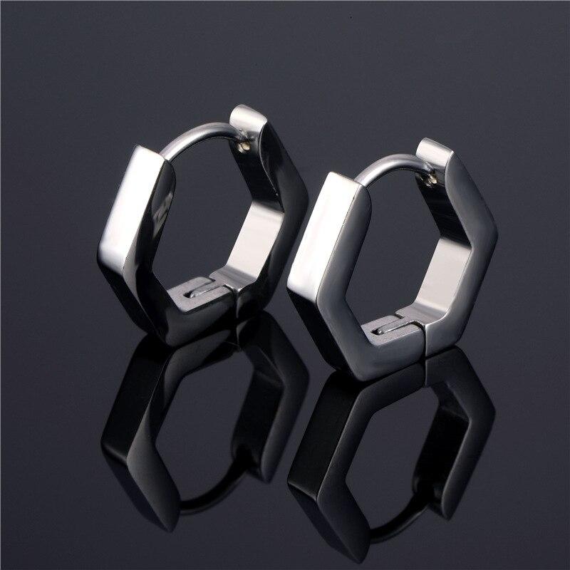 Personality Titanium Steel Earrings Geometry Polygon Hoop Earrings Square/Polygon/Star/triangle Earrings Punk Women Men Jewelry