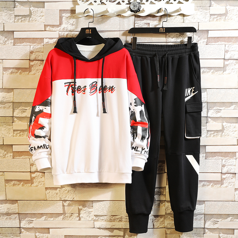 Spring/autumn Mens Hoodies Tracksuit Set Letter Printing Plus Size Man Streetwear Korean Blazer Work Jacket Suit Haroun Pants