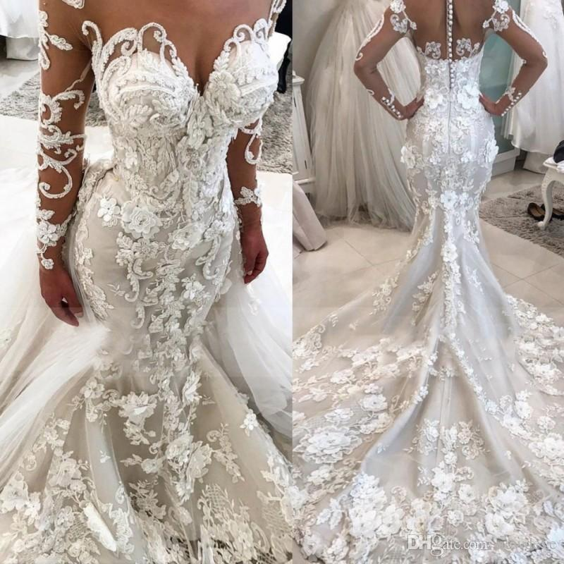 Vestido de Casamento Sereia de Luxo com Flores Gola de Mangas Pura Compridas Tamanho Grande 3d