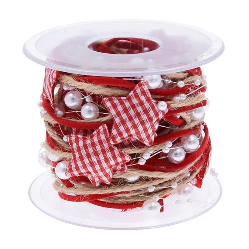 Christmas Ribbon Christmas Decoration for Home Star Bead Chain Ribbon Xmas Gift Pack DIY Accessories 2022 Navidad New Year Gift