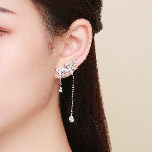 WEGARSTI 925 boucles doreilles en argent Sterling bijoux mode cristal clair Zircon fleur boucles doreilles pour femmes filles enfants dame cadeau