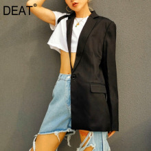 DEAT 2020 New Summer Fashion Sexy Irregular Black One-side Sleeves Half-side Clothes Off-shoulder