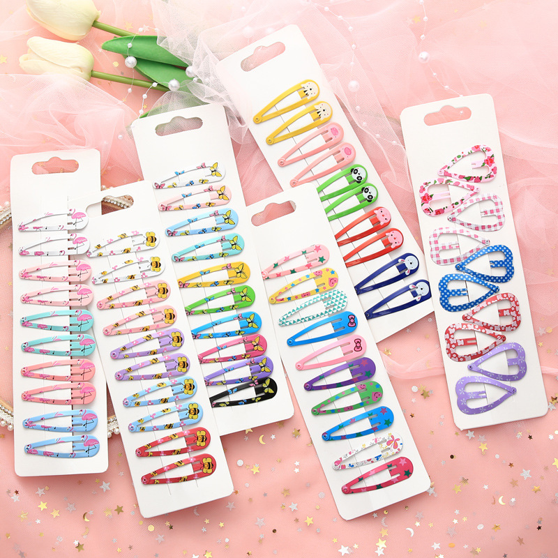 10PCS Cartoon Cute High Quality Printing Snap Hair Clips For Kids Solid Matel Hairpins Girls Hair Accessories Clips
