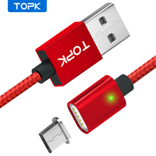 TOPK AM21 Magnetic Cable Nylon Braided Micro USB Cable Data Sync Magnet Charger Cable For Xiaomi Redmi 4X Samsung S7 Microusb