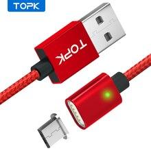 TOPK AM21 마그네틱 케이블 나일론 꼰 마이크로 USB 케이블 데이터 싱크 자석 충전기 케이블 Xiaomi Redmi 4X 삼성 S7 Microusb