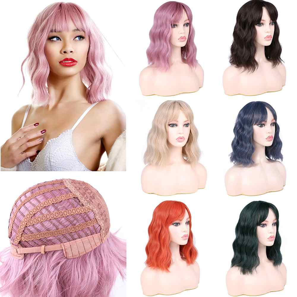 MTMEI Short Natural Wave Hair Wig with bangs Pink Blonde Brown Orange Hair wigs for daily party Cosplay Synthetic wigs for women
