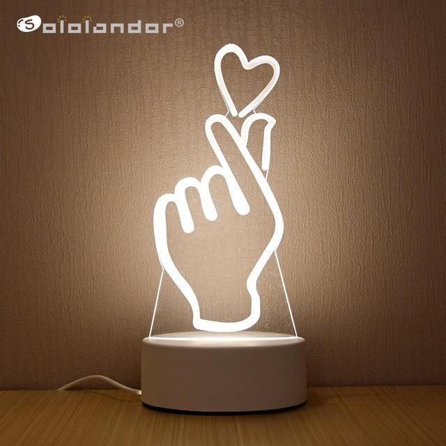 SOLOLANDOR Lámpara LED 3D creativa, luces de noche 3D, novedad, ilusión 3D, lámpara de mesa para luz decorativa de hogar
