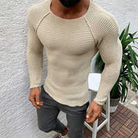 Men's Sweaters Casual Knitted Pullovers Soild Color Sweater Slim Fit Long Sleeve Knitwear Male Round Neck 2019 New Autumn Winter