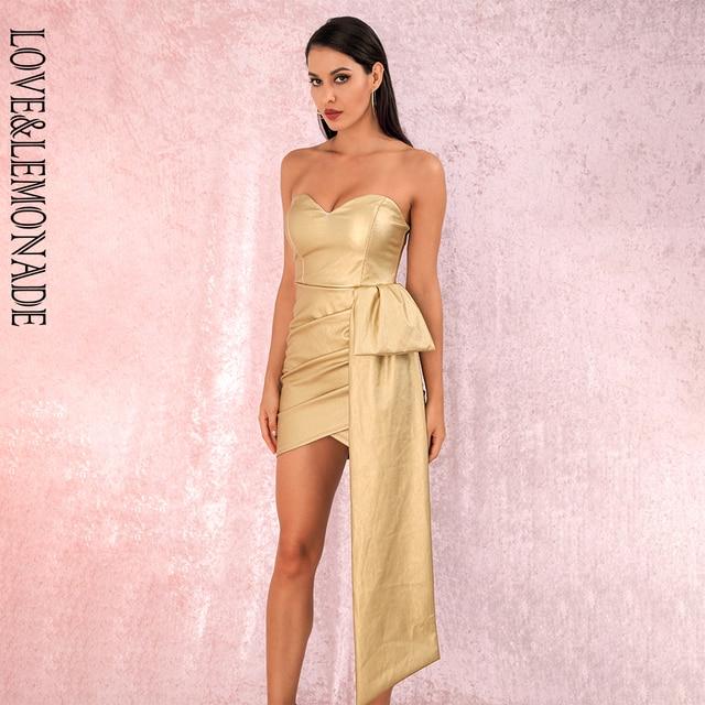LOVE & LEMONADE Vestido corto cruzado de PU, Sexy, dorado, Bandeau, cuello en V, para fiesta, LM82017