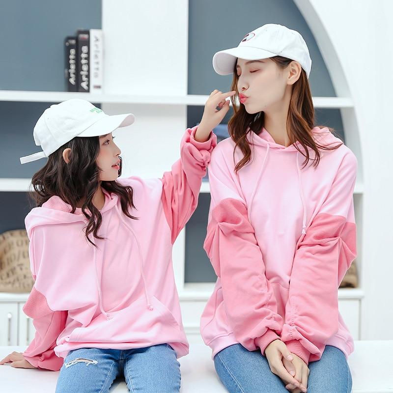 Matching Outfit Hoody Jacket Sweatshirt Dress Family-Look Daughter And Mum Sleeve Pleated-Raglan
