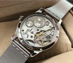 Image 5 - 44 มม.GEERVO สีขาว dial เอเชีย 6498 17 Jewels มือลมผู้ชายนาฬิกาขายส่ง 179a