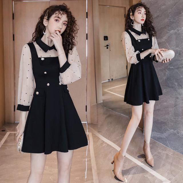 2021 spring and summer new dress Korean lapel French retro Hepburn little black dress mesh stitching slim slimming dress ins hot 3