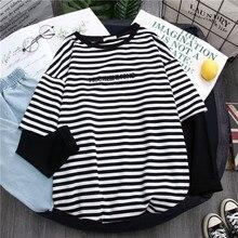 Striped T Shirt Women Tops Patchwork Fake 2 Piece Woman T-Shirt New Womens Tee Long Sleeve T-shirts O-neck Top