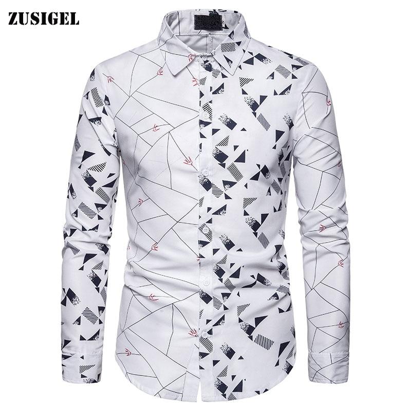 ZUSIGEL Long Sleeve Mens Shirts Turn-down Collar Casual Shirts Gemotric Pattern Patchwork Slim Fit Shirt Men Autumn Shirts