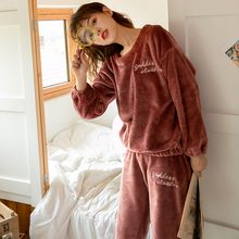 2019 Winter Thick Warm Flannel Pajama Sets for Women Long Sleeve Coral Velvet Sleepwear Pyjama Homewear Loungewear Home Clothes(China)
