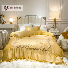 Liv-Esthete Luxury European Palace Bedding Set Healthy Silky Duvet Cover Bed Linen Pillowcases Double Queen King For Beauty