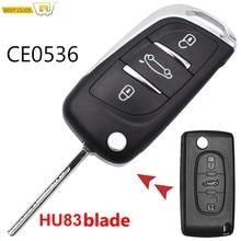 Funda con llave abatible modificada de 3 botones para Peugeot 306 407 807 5008 Partner HU83 para Citroen C2 C4 C5 Berlingo Xsara Picasso