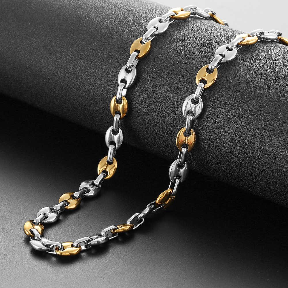 Męskie ziarna kawy naszyjnik łańcuch 6-11mm ze stali nierdzewnej o szerokości Hip hop złoty srebrny czarny Choker naszyjniki dla kobiet mężczyzn biżuteria