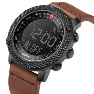 Image 2 - KADEMAN TOP Marca de Luxo Homens Relógio LED Display Digital Esporte Mens Relógios Militares À Prova D Água Moda Masculina relógio de Pulso de Couro