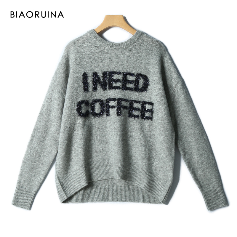 BIAORUINA Women's Casual Lurex Letter Chic O-neck Knitted Sweater Autumn Loose All-match Fashion Grey Pullovers
