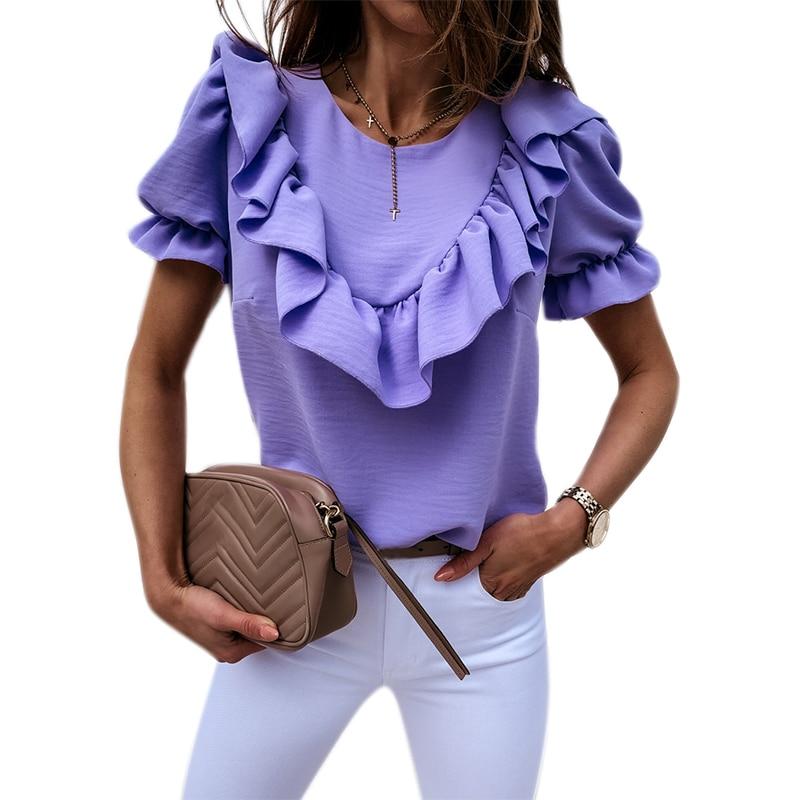 VICABO Womens Blouse Shirts Fashion Puff Ruffle Short Sleeve Ladies Top Casual Womens Shirts Summer Top Ladise Clothing #W