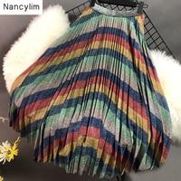 Slender and Bright Silk Rainbow Stripe Pleated Skirt Women 2019 Summer Autumn Maxi Long Skirts Girl Ladies Ins Fashion Skirt