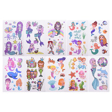 10/20 шт временные тату-наклейки с животными Мультяшные Русалочки морские рыбки Waterproo тату-стикеры для детей день рождения вечеринка Декор по...