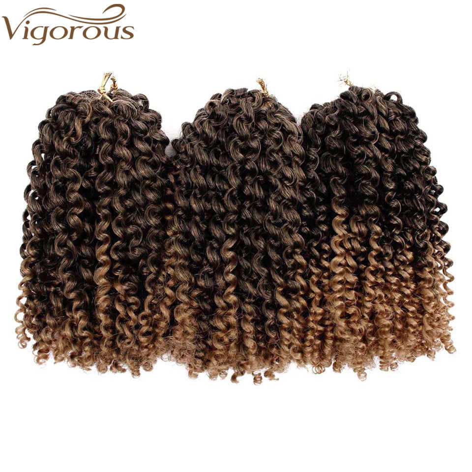 Vigorous Kinky Curly Ombre Hair Crochet Braids Marley Synthetic Braiding Hair Extensions for any Women 8inch 30g/pcs