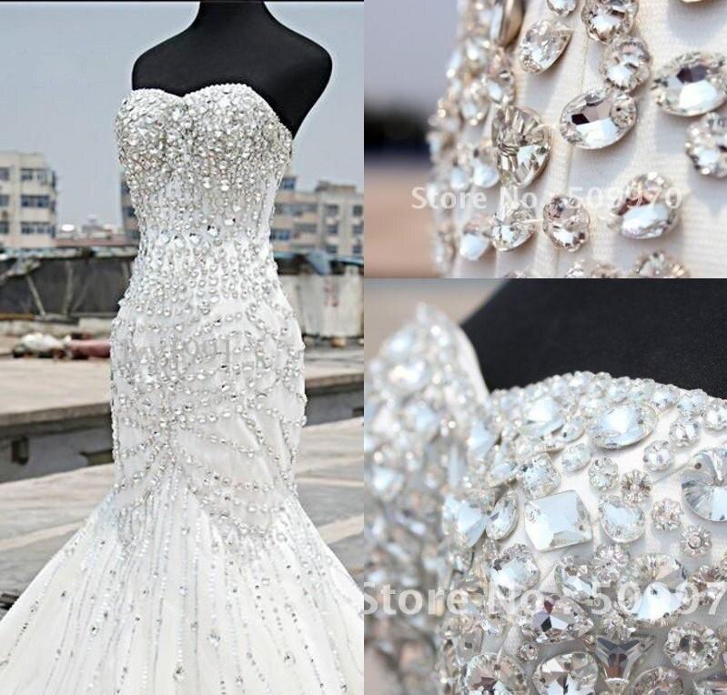 Rhinestones Luxury Dubai Arabic Mermaid Wedding Dresses Beading Crystals Plus Size Wedding Bridal Gowns Vestido De Noiva