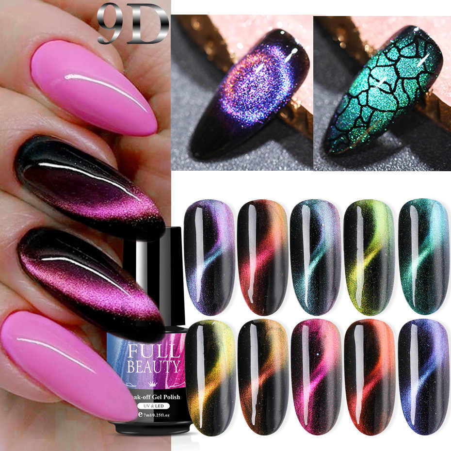 7Ml 9D Chameleon Magnetic Cat Eye Gel Varnish Hybrid Gradien Laser Bersinar Kuku Polandia Lukisan Lacquer Rendam Off UV gel SA9D01-10