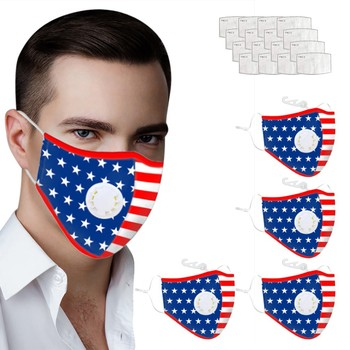 Cotton Face Mask Activated Carbon Mask Washable and Reusable Lot Face Mask Flag Print Cover Windproof Suncreen Mouth Mask image