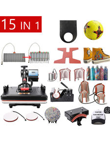 Heat-Press-Machine Sublimation-Pen T-Shirt 15-In-1-Combo for Pen/Football/keychain